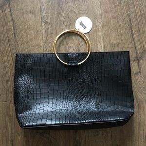 Gold Handle Vegan Croc Skin Tote